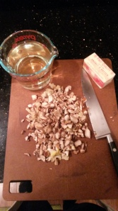 Butter and white wine does tasty mushrooms make.